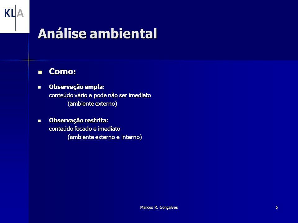 Análise ambiental Como: Observação ampla: