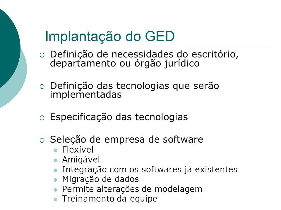 Implantação do GEDDefinição de necessidades do escritório, departamento ou órgão jurídico. Definição das tecnologias que serão implementadas.