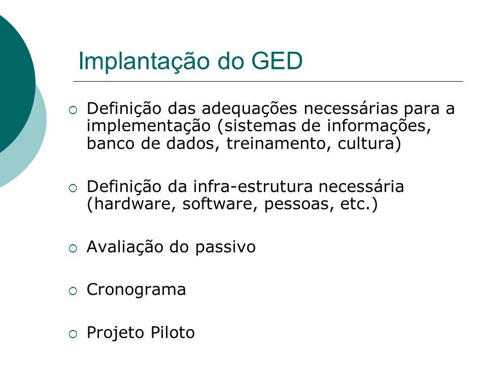 Implantação do GED Definição das adequações necessárias para a implementação (sistemas de informações, banco de dados, treinamento, cultura)