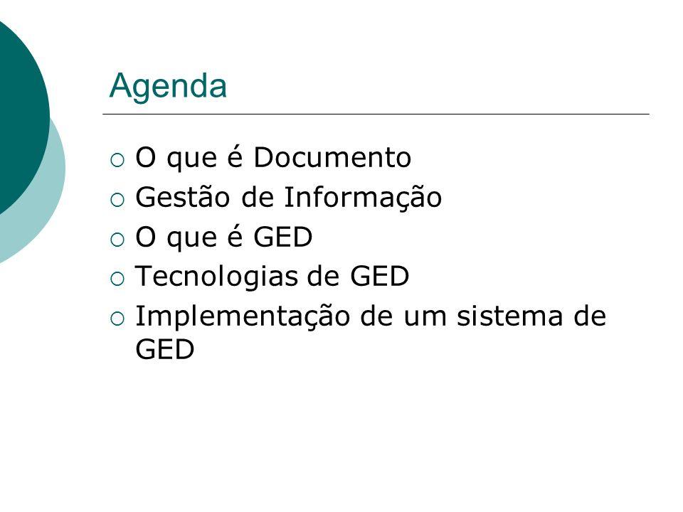 Agenda O que é Documento Gestão de Informação O que é GED