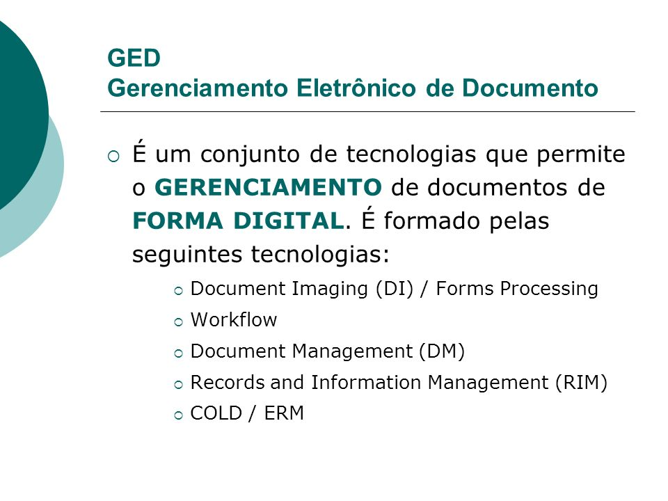 GED Gerenciamento Eletrônico de Documento