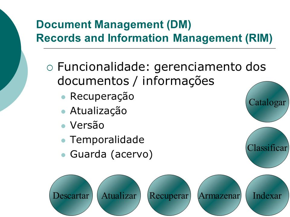 Document Management (DM) Records and Information Management (RIM)