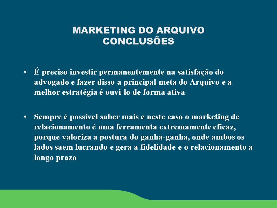 MARKETING DO ARQUIVO CONCLUSÕES