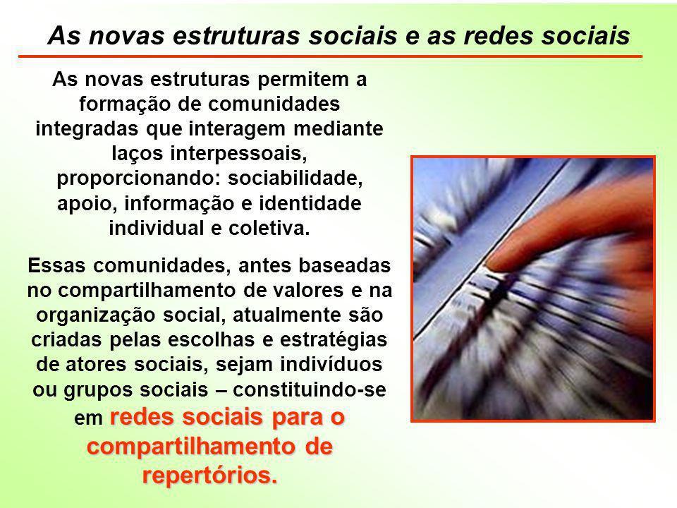 As novas estruturas sociais e as redes sociais