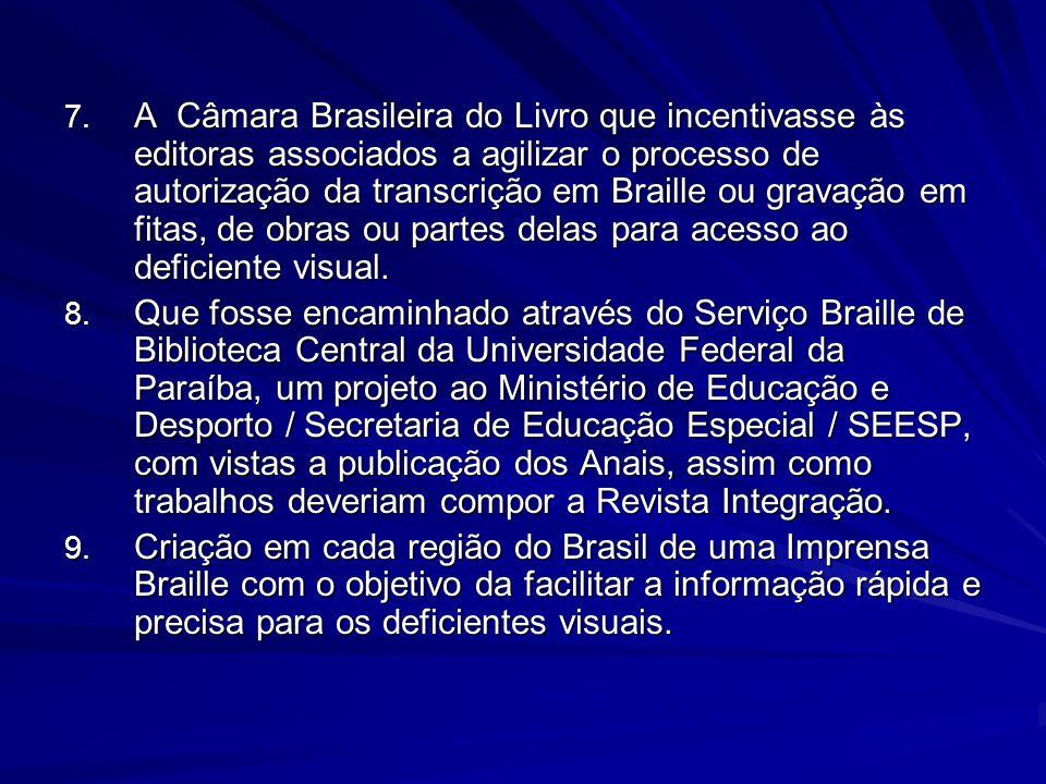 A Câmara Brasileira do Livro que incentivasse às editoras associados a agilizar o processo de autorização da transcrição em Braille ou gravação em fitas, de obras ou partes delas para acesso ao deficiente visual.
