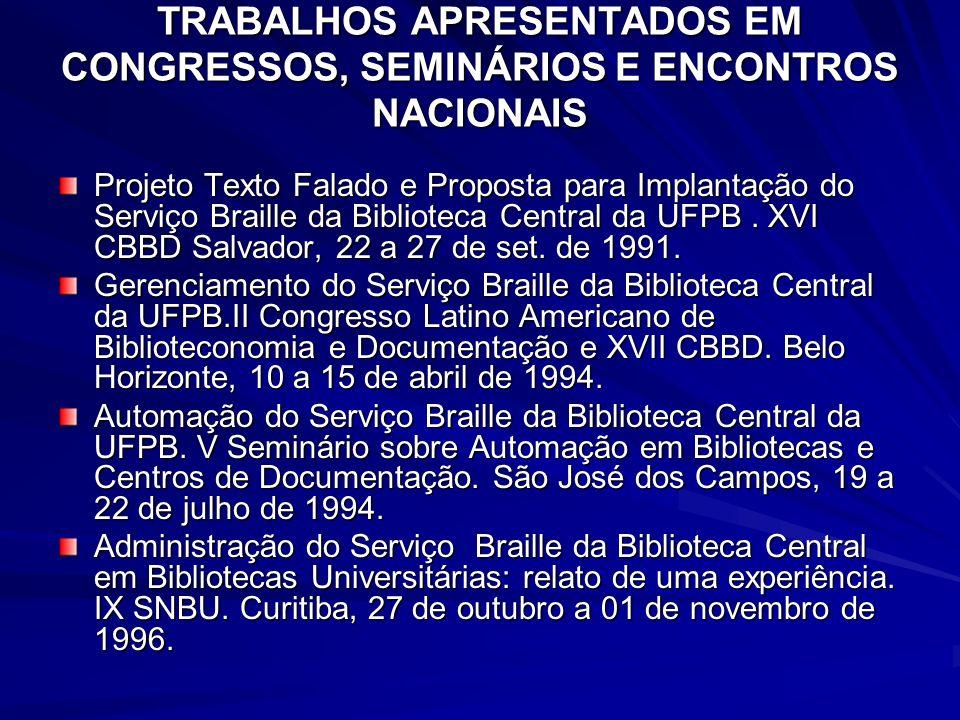 TRABALHOS APRESENTADOS EM CONGRESSOS, SEMINÁRIOS E ENCONTROS NACIONAIS