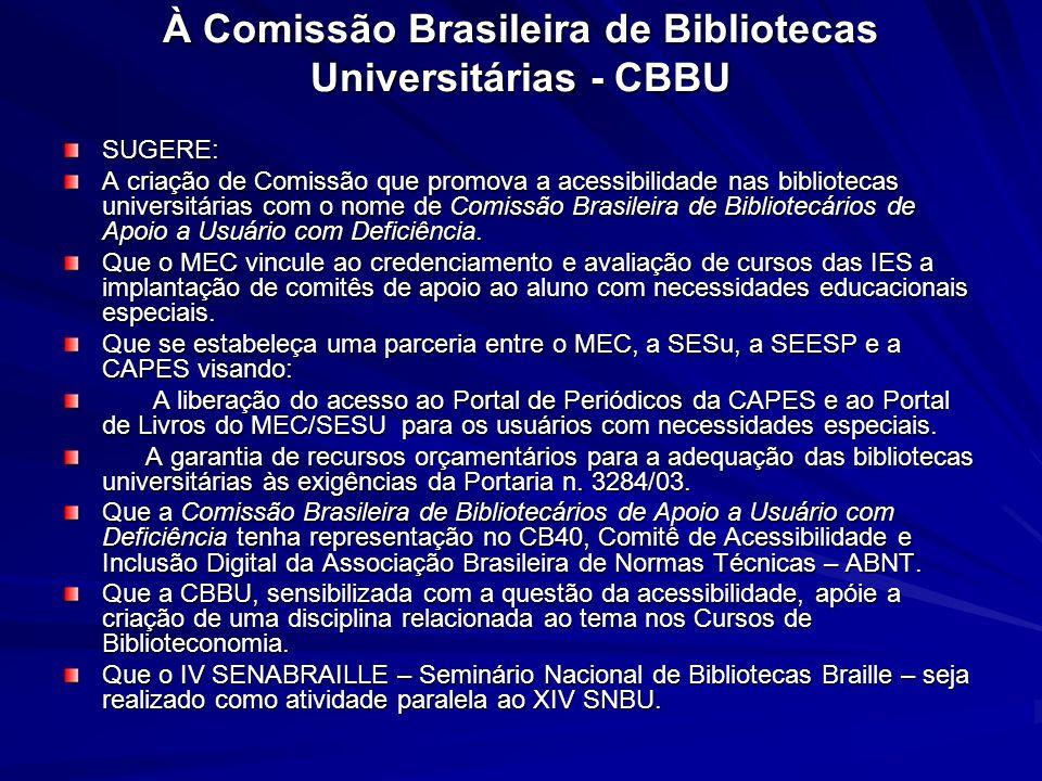 Documento elaborado XIII SNBU – 2004 À Comissão Brasileira de Bibliotecas Universitárias - CBBU