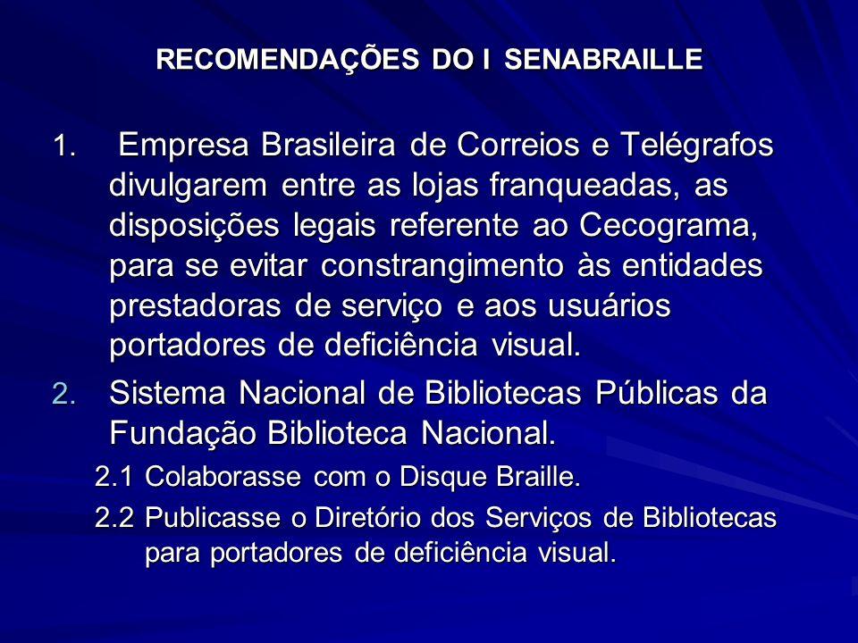 RECOMENDAÇÕES DO I SENABRAILLE