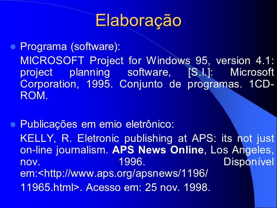 Elaboração Programa (software):
