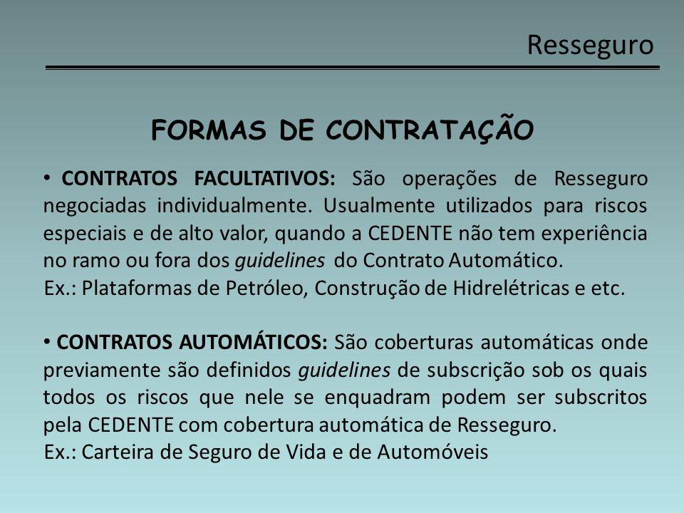 Resseguro FORMAS DE CONTRATAÇÃO