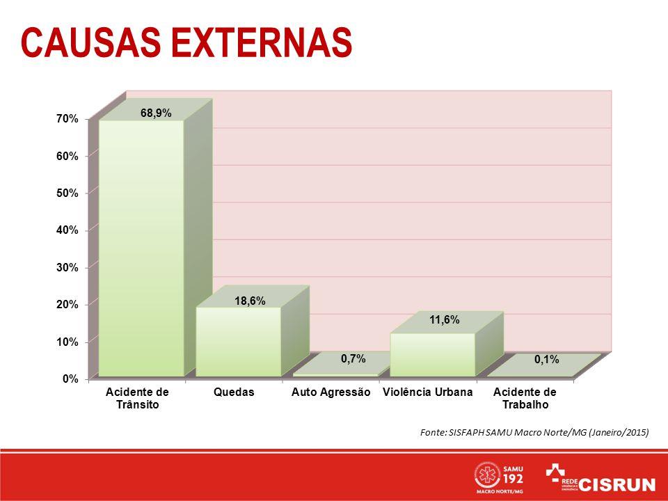 CAUSAS EXTERNAS Fonte: SISFAPH SAMU Macro Norte/MG (Janeiro/2015)