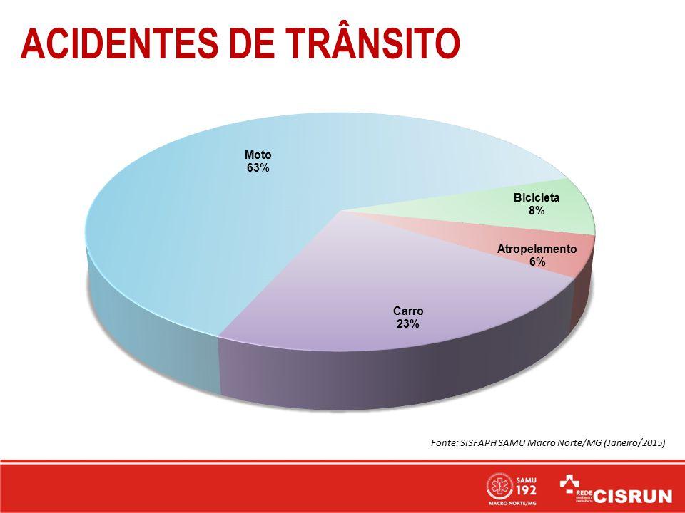 ACIDENTES DE TRÂNSITO Fonte: SISFAPH SAMU Macro Norte/MG (Janeiro/2015)