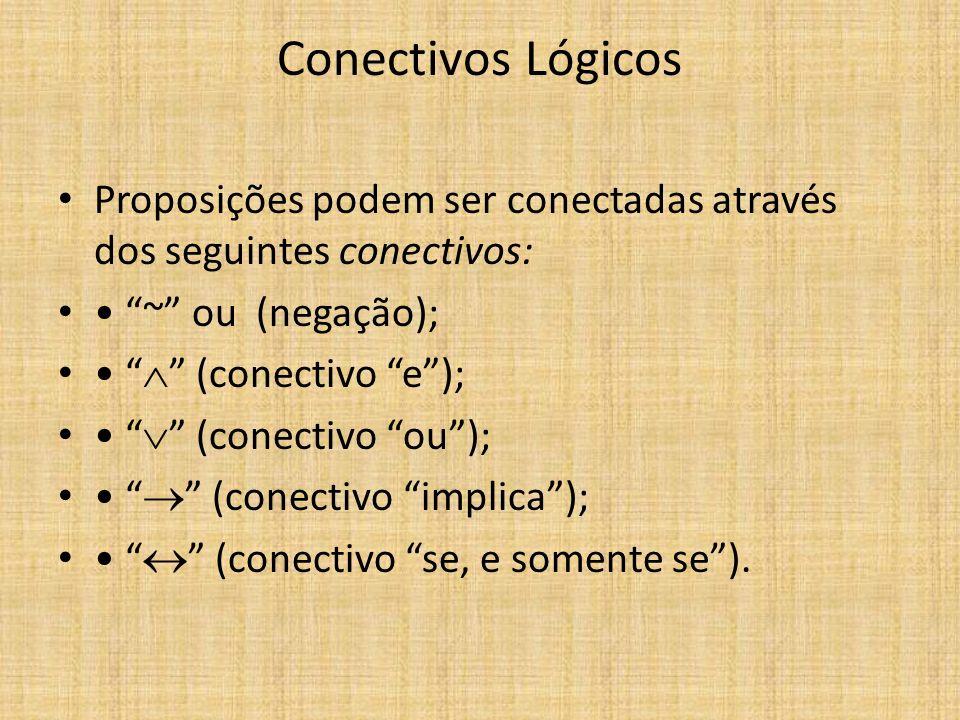 Conectivos Lógicos Proposições podem ser conectadas através dos seguintes conectivos: • ~ ou (negação);