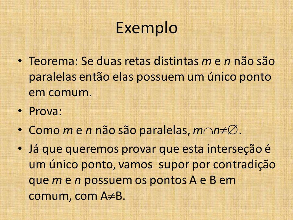ExemploTeorema: Se duas retas distintas m e n não são paralelas então elas possuem um único ponto em comum.