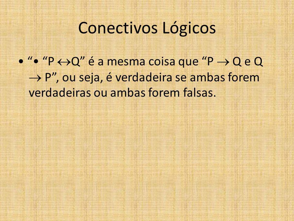 Conectivos Lógicos • • P Q é a mesma coisa que P  Q e Q  P , ou seja, é verdadeira se ambas forem verdadeiras ou ambas forem falsas.