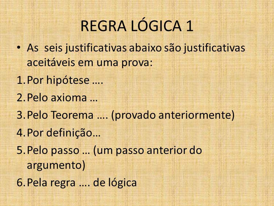 REGRA LÓGICA 1As seis justificativas abaixo são justificativas aceitáveis em uma prova: Por hipótese ….