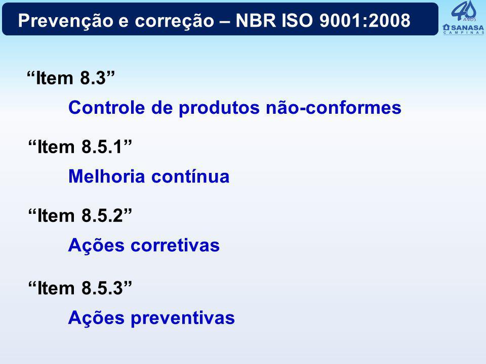 Prevenção e correção – NBR ISO 9001:2008