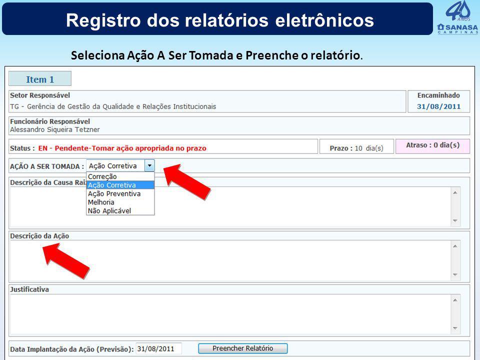 Registro dos relatórios eletrônicos