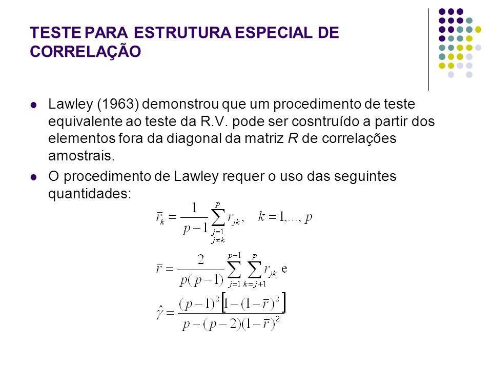 TESTE PARA ESTRUTURA ESPECIAL DE CORRELAÇÃO