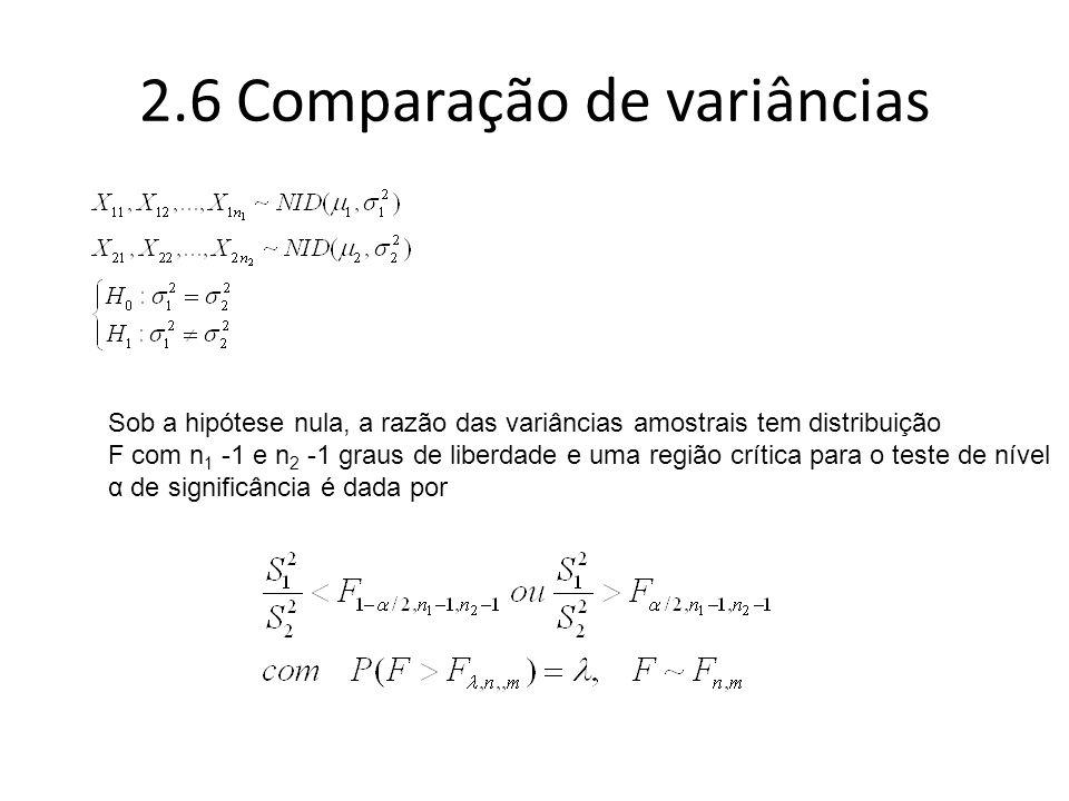 2.6 Comparação de variâncias
