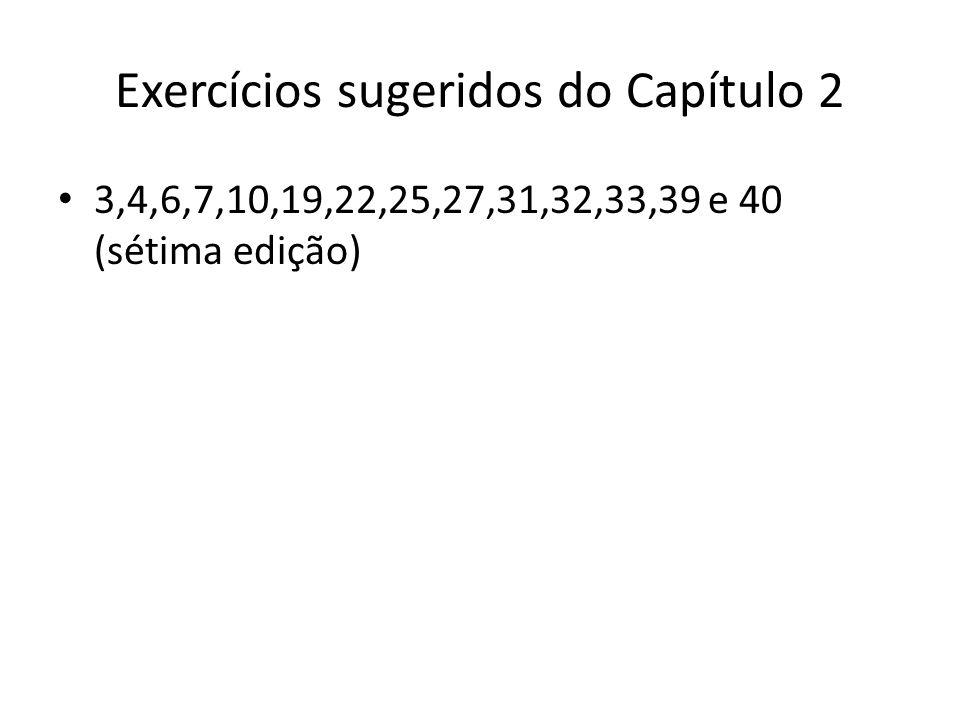 Exercícios sugeridos do Capítulo 2