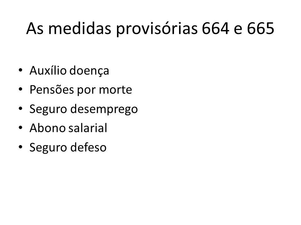 As medidas provisórias 664 e 665