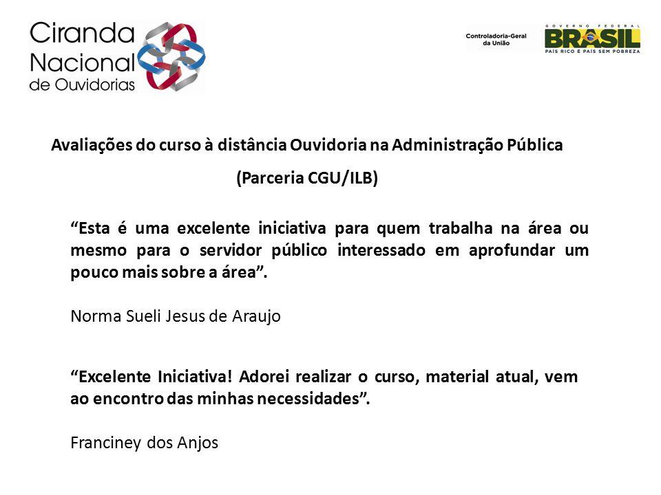 Avaliações do curso à distância Ouvidoria na Administração Pública (Parceria CGU/ILB)