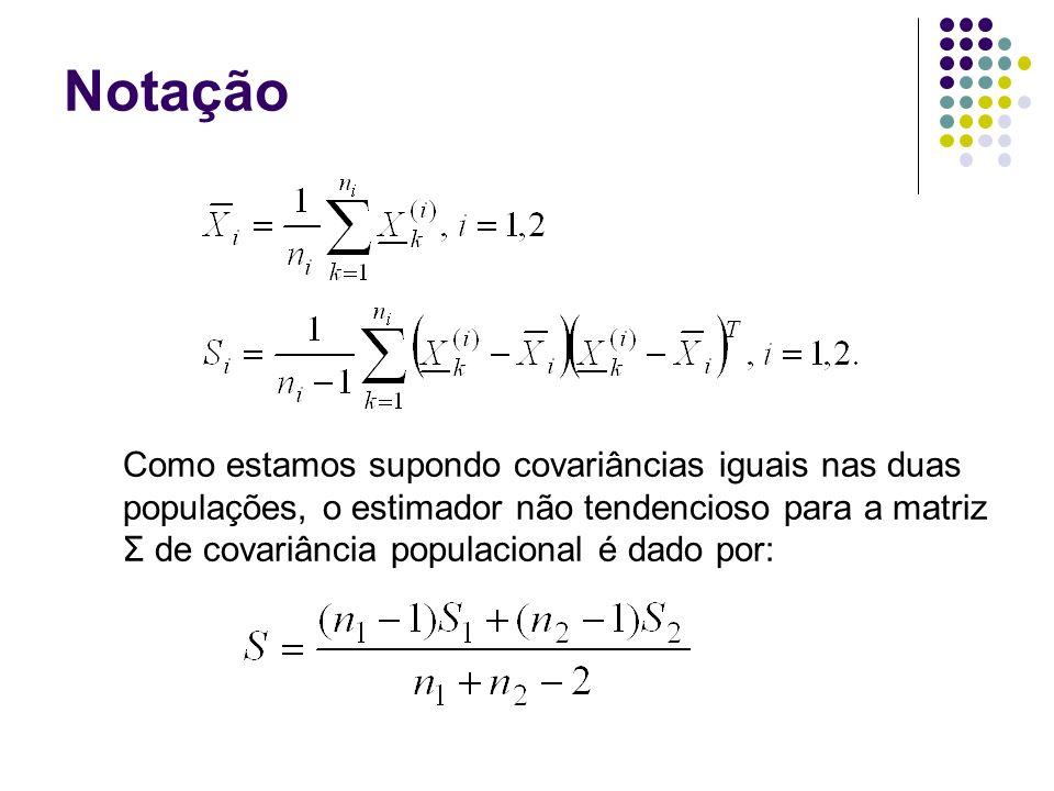 Notação Como estamos supondo covariâncias iguais nas duas