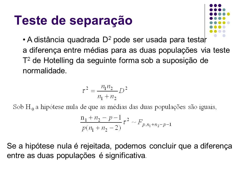 Teste de separação A distância quadrada D2 pode ser usada para testar