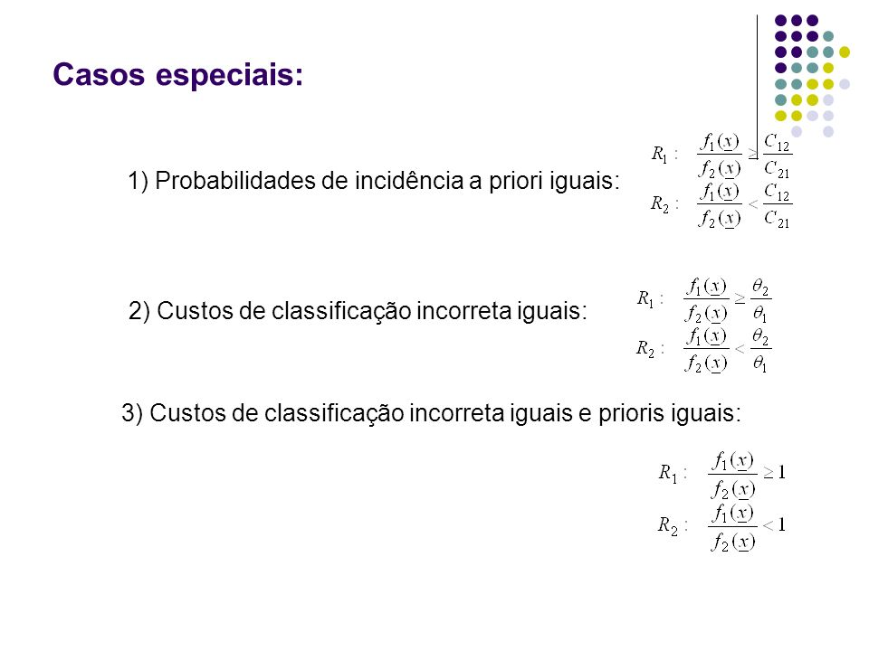 Casos especiais: 1) Probabilidades de incidência a priori iguais:
