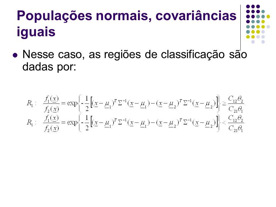 Populações normais, covariâncias iguais