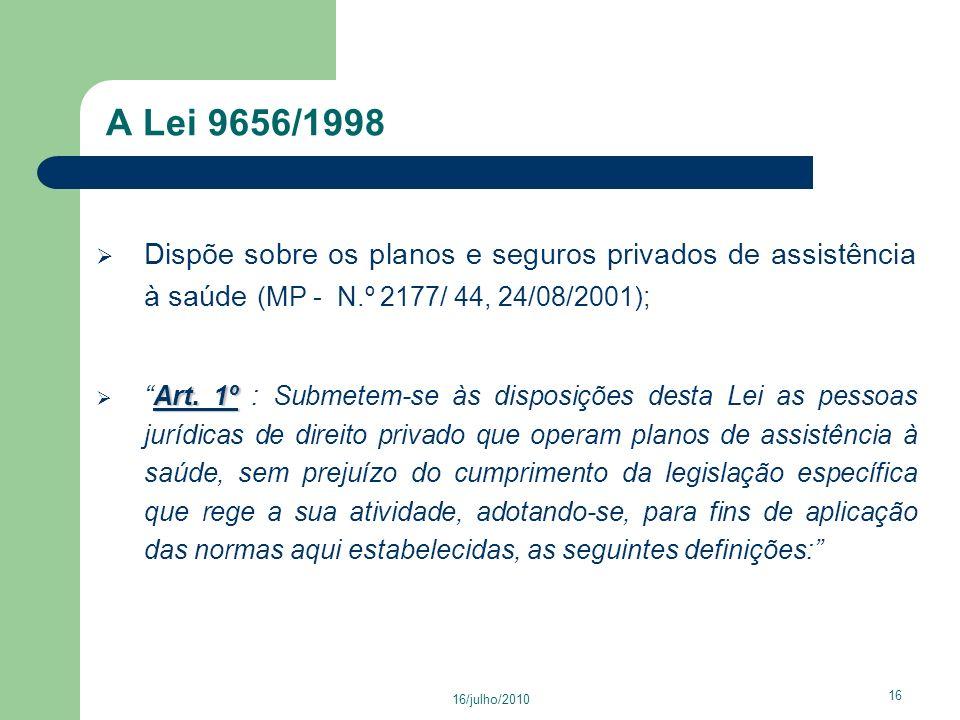 A Lei 9656/1998 Dispõe sobre os planos e seguros privados de assistência à saúde (MP - N.º 2177/ 44, 24/08/2001);