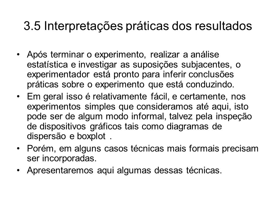 3.5 Interpretações práticas dos resultados