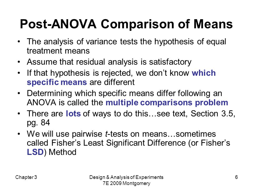 Post-ANOVA Comparison of Means