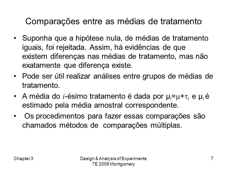 Comparações entre as médias de tratamento