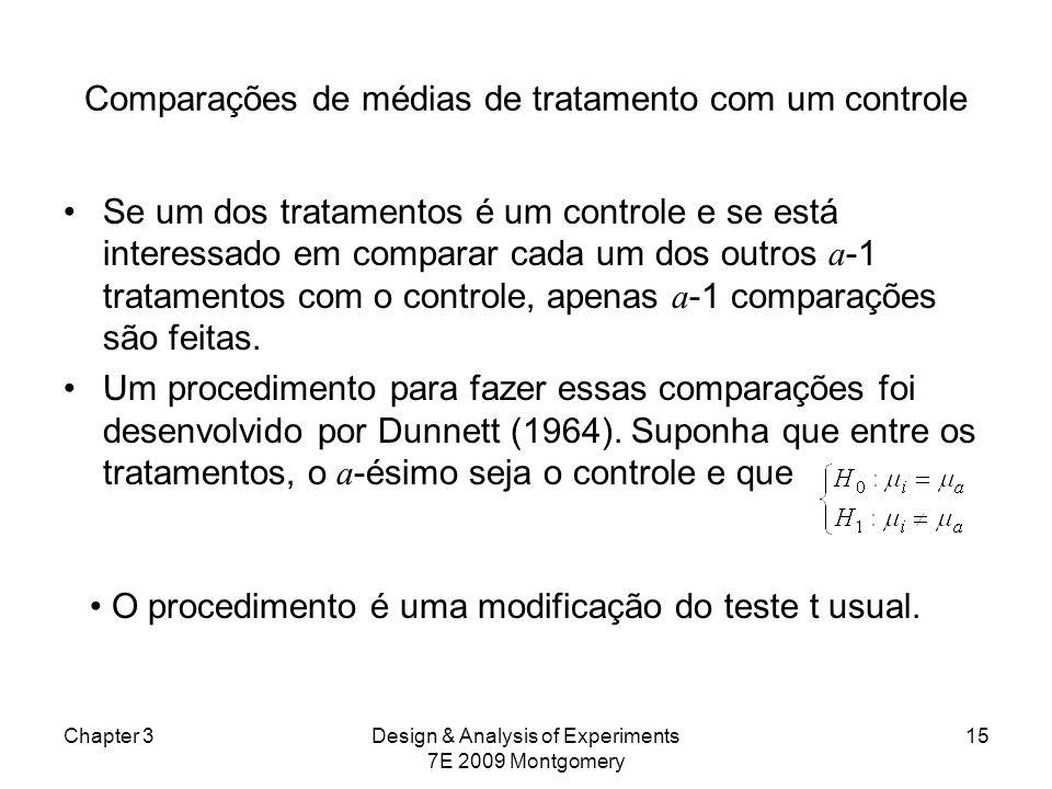Comparações de médias de tratamento com um controle