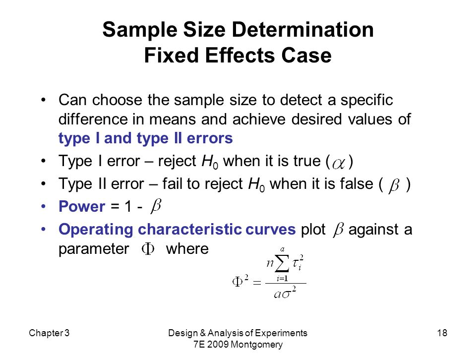 Sample Size Determination Fixed Effects Case