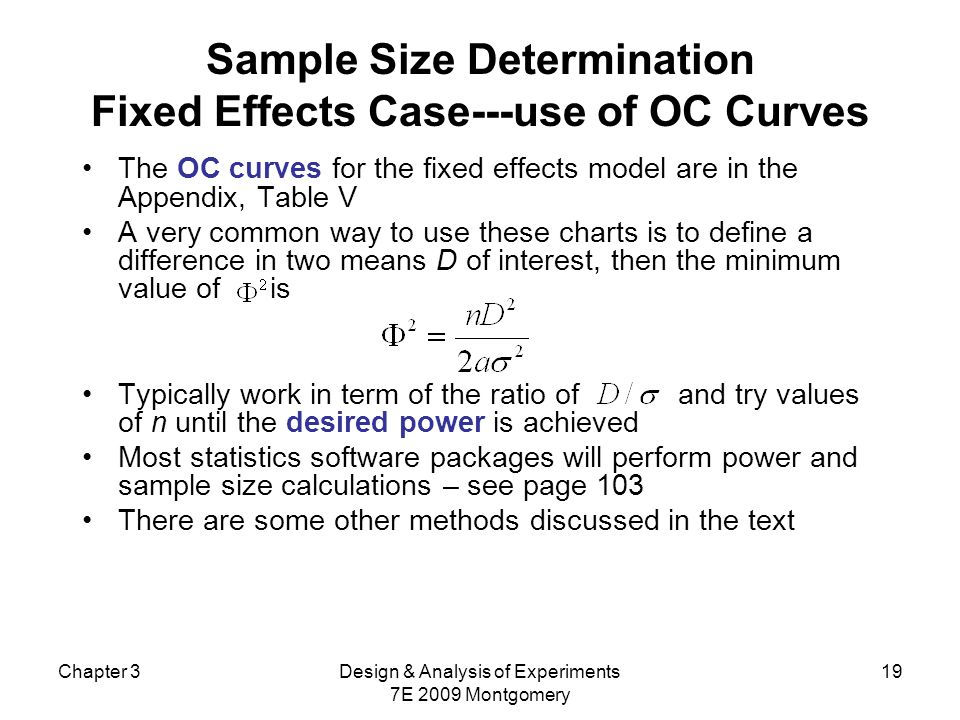 Sample Size Determination Fixed Effects Case---use of OC Curves