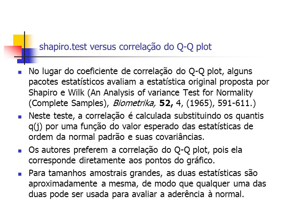 shapiro.test versus correlação do Q-Q plot