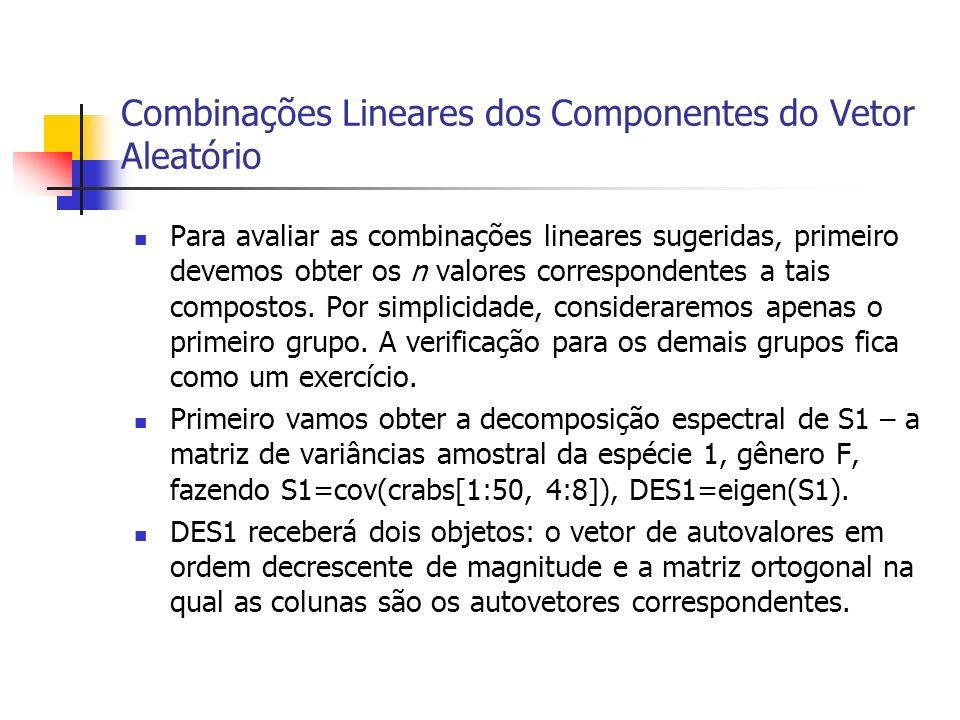 Combinações Lineares dos Componentes do Vetor Aleatório