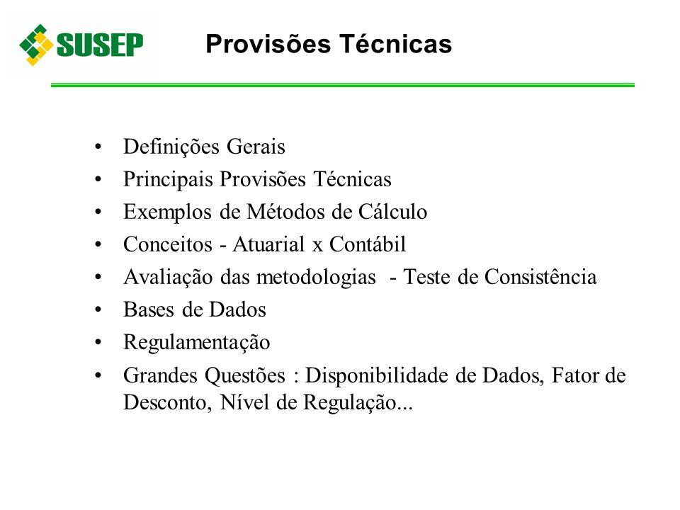 Provisões Técnicas Definições Gerais Principais Provisões Técnicas