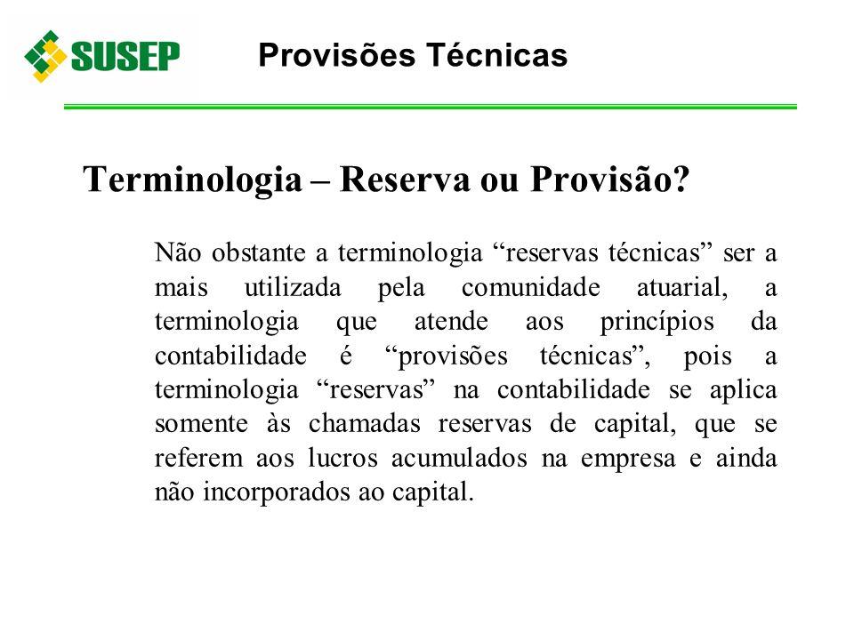 Terminologia – Reserva ou Provisão