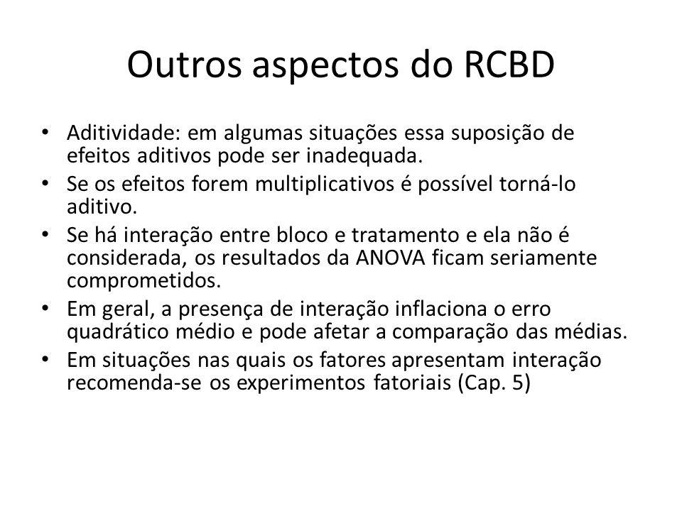 Outros aspectos do RCBD