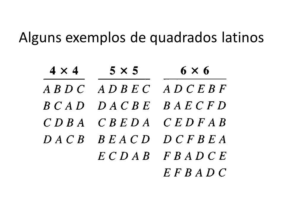 Alguns exemplos de quadrados latinos