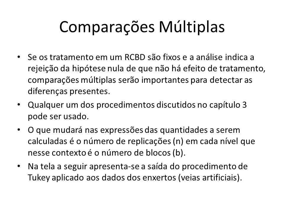 Comparações Múltiplas