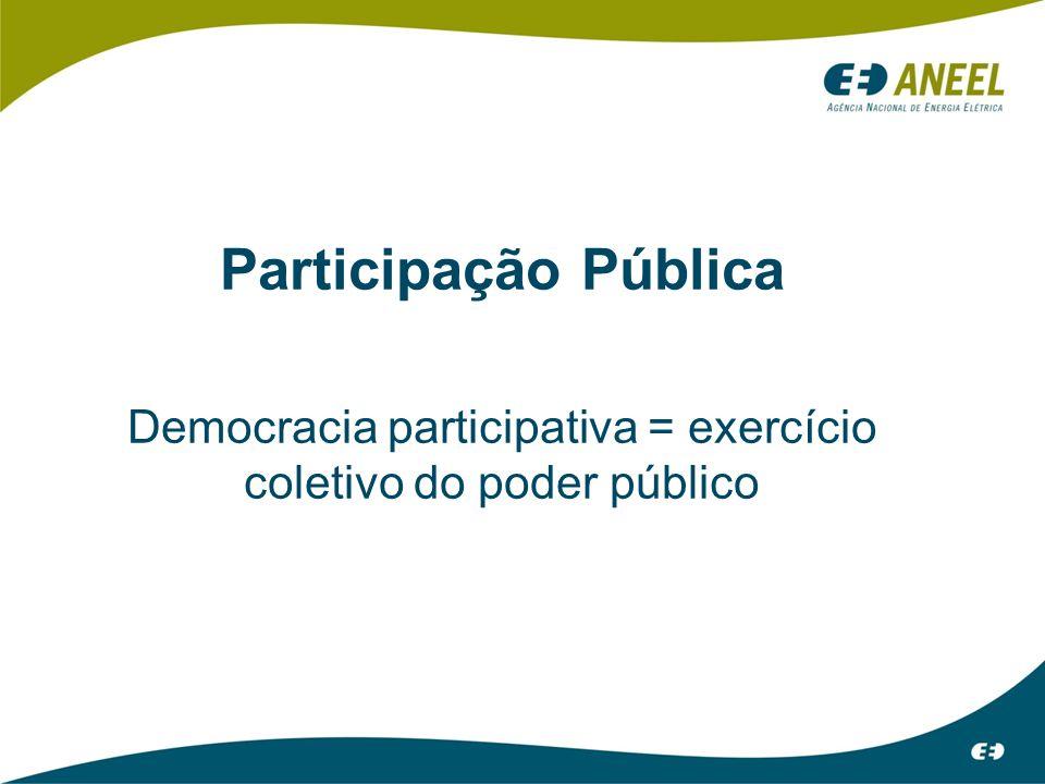 Democracia participativa = exercício coletivo do poder público