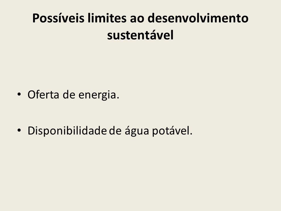 Possíveis limites ao desenvolvimento sustentável
