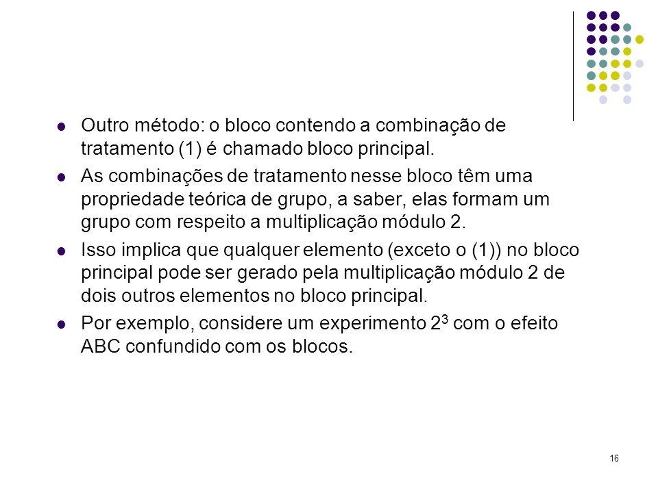 Outro método: o bloco contendo a combinação de tratamento (1) é chamado bloco principal.