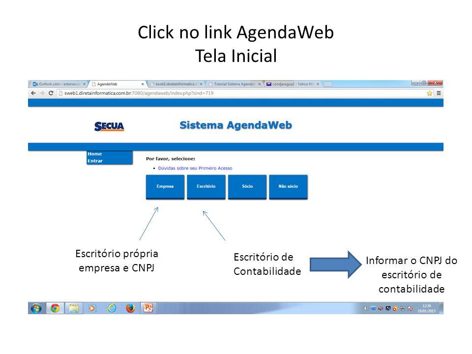 Click no link AgendaWeb Tela Inicial