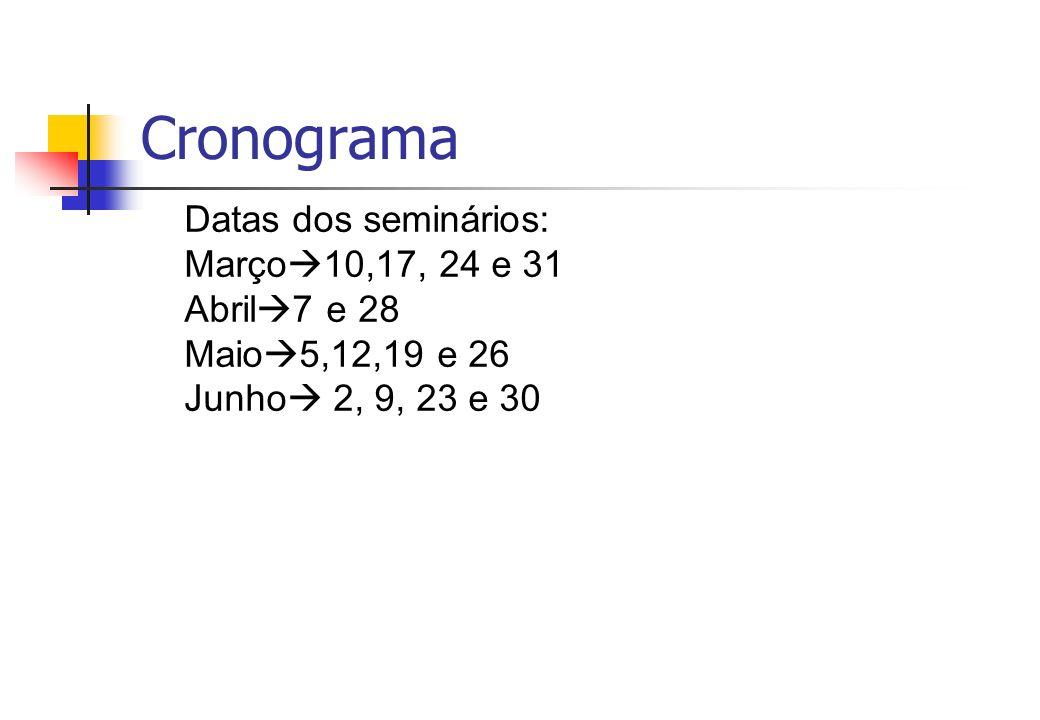 Cronograma Datas dos seminários: Março10,17, 24 e 31 Abril7 e 28